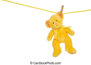Yellow teddy bear on clothes line