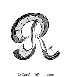 Filmstrip font. Front view. Letter r - The alphabet from a...