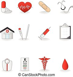 Medical icons - A vector illustration of a set of medical...