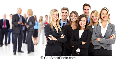 Business people team - Large group of smiling business...