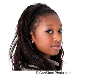Young cute black woman