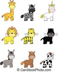 animals cartoon set 02 - animals cartoon set in vector...