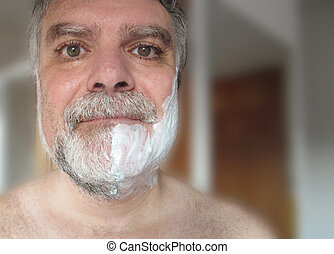 Man with shaving cream