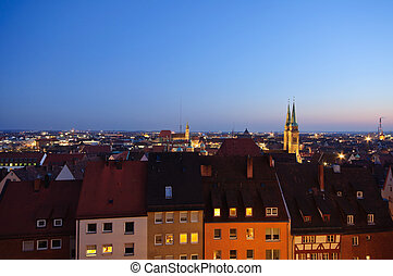 Nuremberg, Germany - Old Town of Nuremberg in the twilight,...
