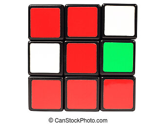 Rubik's Cube - Figure 1 of the red squares on the Rubik's...