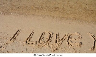 I love you 2 -  i love you  in the sand