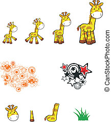 giraffe cartoon set