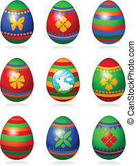 Easter eggs - Nine fine painted eggs designed for Easter