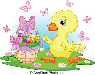 Easter duckling with a basket of eggs - happy Easter