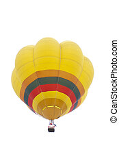Colorful hot air balloons float in the air with isolated...