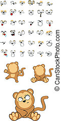 monkey baby cartoon set5 - monkey baby cartoon set in vector...