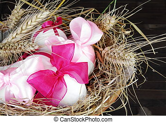 Easter Eggs in Nest with Wheat