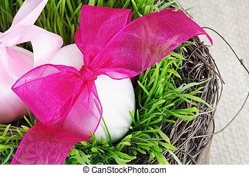 White Festive Easter Eggs in Grass