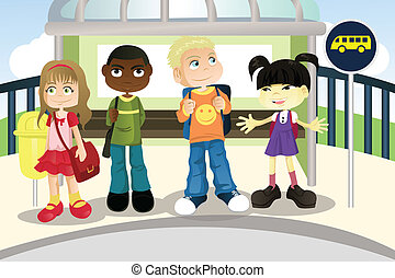 Children at bus stop - A vector illustration of multi ethnic...