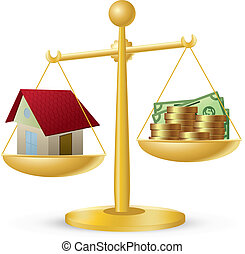 Home and money - House and money on scales