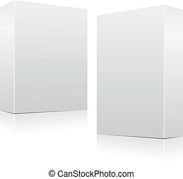 Clear white boxes - Set of two clear white vector boxes