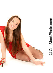 Portrait of a beautiful laughing woman in red dress