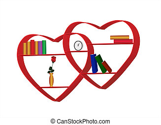 bookshelves in the form of heart