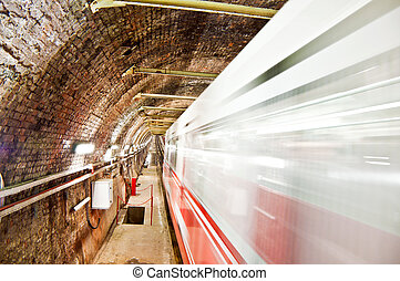Old Tunnel Metro in Motion - Image of old tunnel metro of...