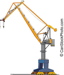 big shipyard crane - image of big shipyard crane isolated on...