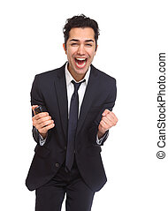 All right - Businessman excited and Ecstatic isolated on...