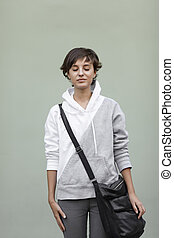 dreams - teen with black bag, soft natural light ,selective...