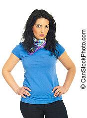 Beauty woman in blank blue t-shirt - Beauty woman posing in...