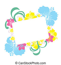Hibiscus frame - Illustration vector