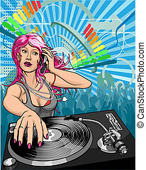 Beautiful woman DJ - Female woman DJ playing music...