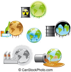 Environmental pollution icons