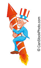 Uncle sam on fireworks rocket - Uncle sam riding a fireworks...