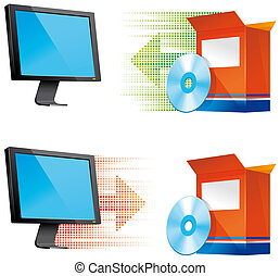 Software install and uninstall icons - Software install and...
