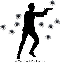Action hero in gun fight silhouette - Action hero standing...