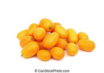 kumquat close up isolated on white