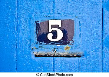 Door number - Street door number with the mail box slot