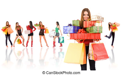 shopping woman - Shopping woman with bag and gift boxes and...