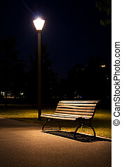berlin park night bench lantern