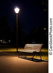 berlin park night bench lantern