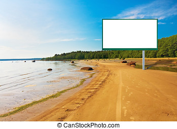 billboard on the beach - billboard planted on the sea...
