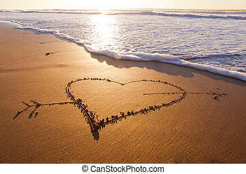 Heart - Heard drawn in the sand on the atlantic coast