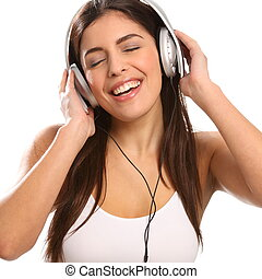 Girl music lover singing - Young girl wearing headphones...