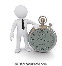 Three-dimensional person with a stopwatch on a white...