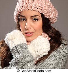 Woman wearing warm winter woollies