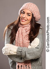 Happy smile woman in warm clothes