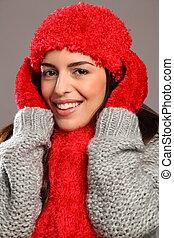 Woman in warm festive woolly knits