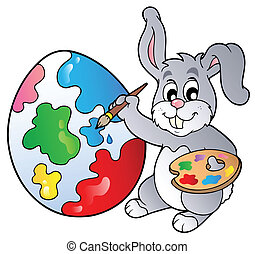 Bunny artist painting Easter egg - vector illustration