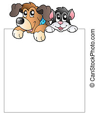 Blank frame with lurking pets - vector illustration.