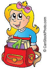 Cartoon girl with school bag - vector illustration.