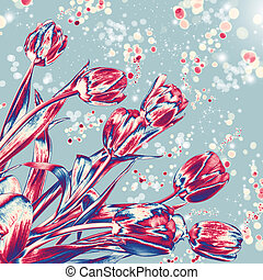 Solar tulips - Bouquet of tulips artly processed