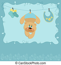 Baby greetings card with teddy bear